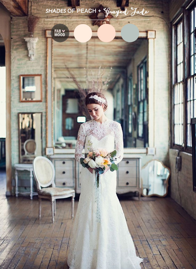 Read more Shades of Peach and Grayed Jade Wedding Colour Palette,grayed jade wedding ideas,shades of grayed jade peach wedding theme,grayed jade wedding colors  https://www.fabmood.com/peach-grayed-jade-wedding-colour-palette/