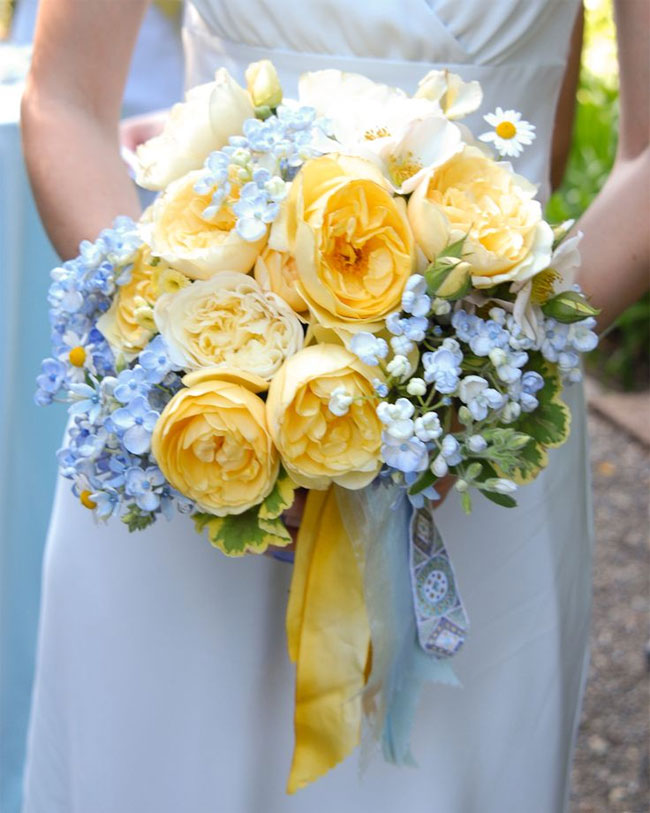 Yellow bouquet flowers blue and green blue green yellowspring wedding see blue green yellow wedding colours palettepowder blue green yellow wedding palette yellow green wedding theme ideas mightylinksfo