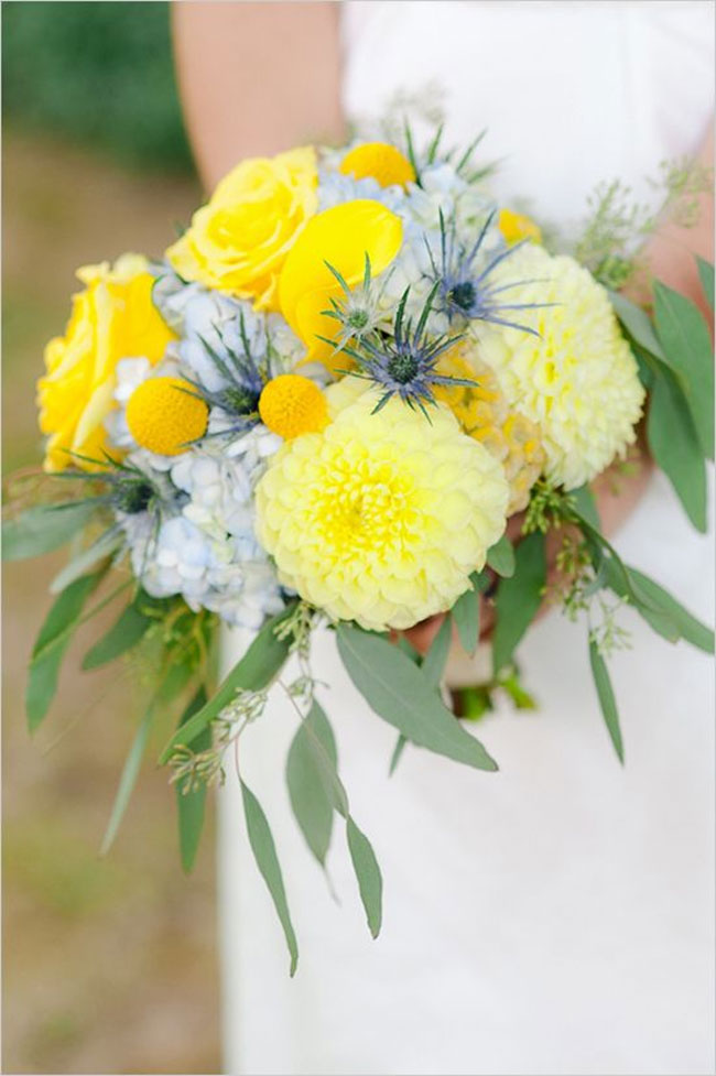 Yellow And Light Blue Wedding Bouquet