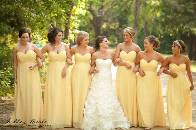 yellow bridesmaids,green and yellow wedding