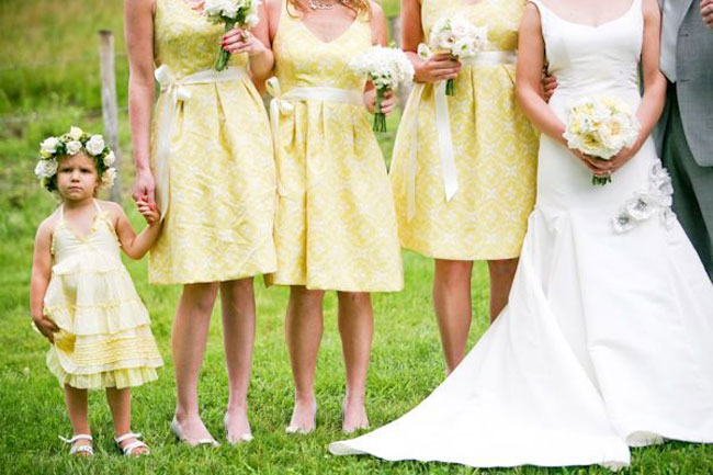 yellow bridesmaids and yellow flower girl