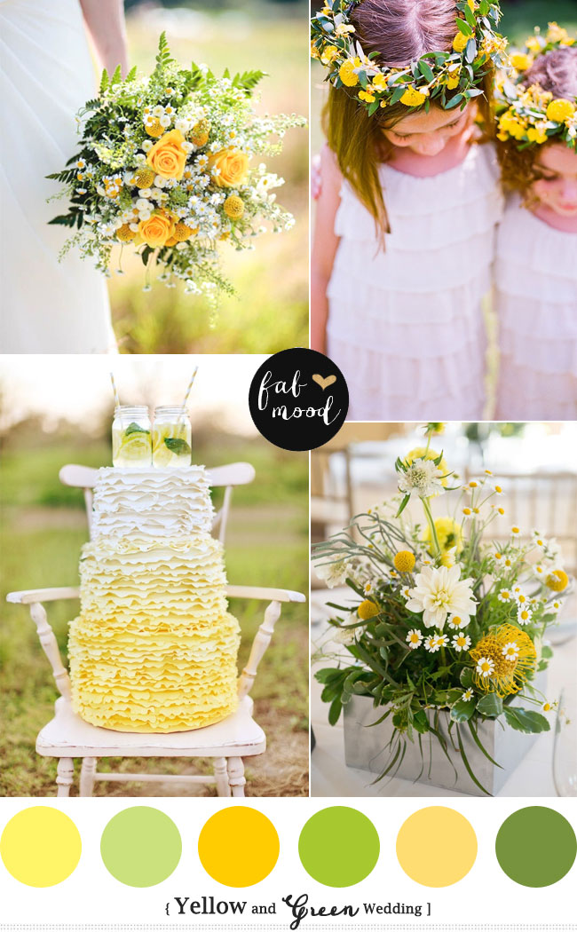 yellow green wedding colors, Yellow green wedding motif