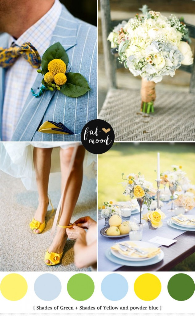 Spring Wedding See Blue Green Yellow Colours Palette Powder Theme Ideas Bouquets