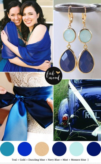 Shades of blue + mint + teal see more https://www.fabmood.com/navy-blue-and-mint-wedding-teal wedding board teal wedding,dazzling blue, royal blue mint wedding palette,navy blue and mint wedding,monaco blue mint wedding palette