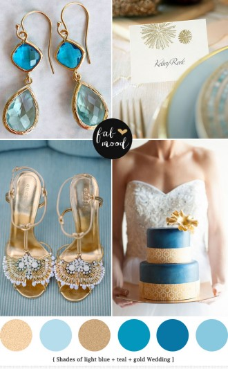 Glamour blue and gold wedding palette - see more http://www.fabmood.com/light-blue-gold-wedding-colors/ blue gold wedding,blue gold wedding theme,blue gold wedding ideas,blue gold wedding reception,light blue and gold wedding colors,gold glamour wedding