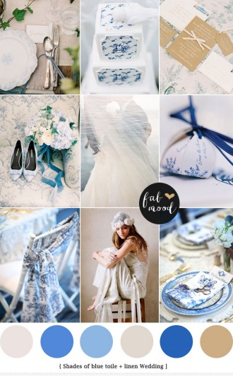 Linen & Blue Toile Wedding Palette : see more - http://fabmood.com/linen-blue-toile-wedding/ blue toile wedding invitations,toile wedding dress,toile wedding decor,toile wedding cake,toile wedding programs,toile wedding linens,blue wedding colors