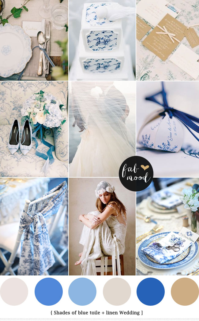 Linen & Blue Toile Wedding Palette :  see more - https://fabmood.com/linen-blue-toile-wedding/  blue toile wedding invitations,toile wedding dress,toile wedding decor,toile wedding cake,toile wedding programs,toile wedding linens,blue wedding colors
