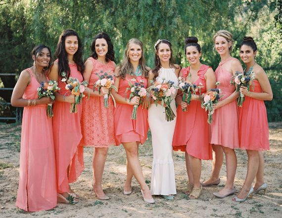 20 Coral Bridesmaid Dresses see more : https://www.fabmood.com/20-coral-bridesmaid-dresses/ Coral bridesmaids