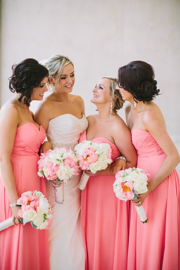 20 Coral Bridesmaids Dresses see more : http://www.fabmood.com/20-coral-bridesmaid-dresses/ Coral bridesmaids