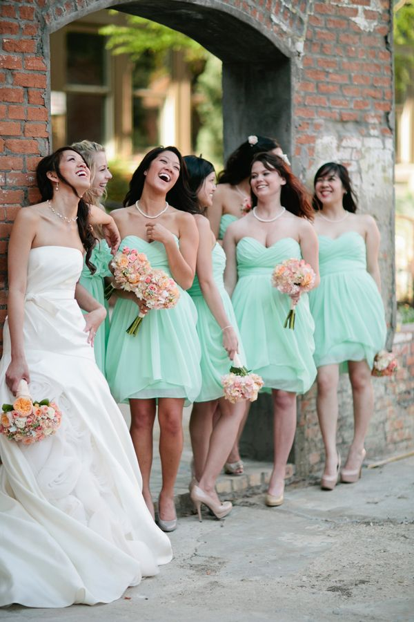short mint bridesmaids