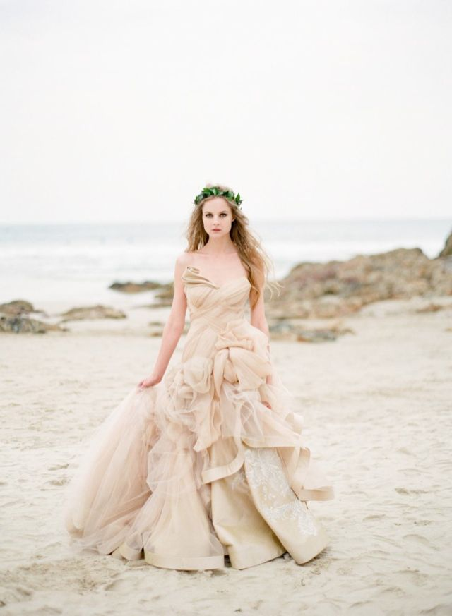 Beach wedding dress peach wedding dress for Ocean themed wedding dress