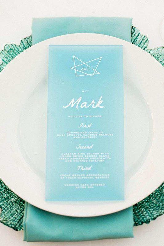 something blue wedding menu