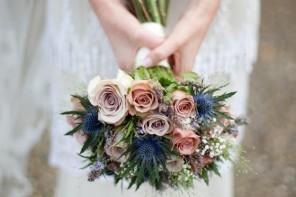 wedding bouquet,Dusty pink and blue wedding bouquet