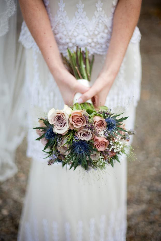 Dusty Pink And Blue Wedding Bouquet