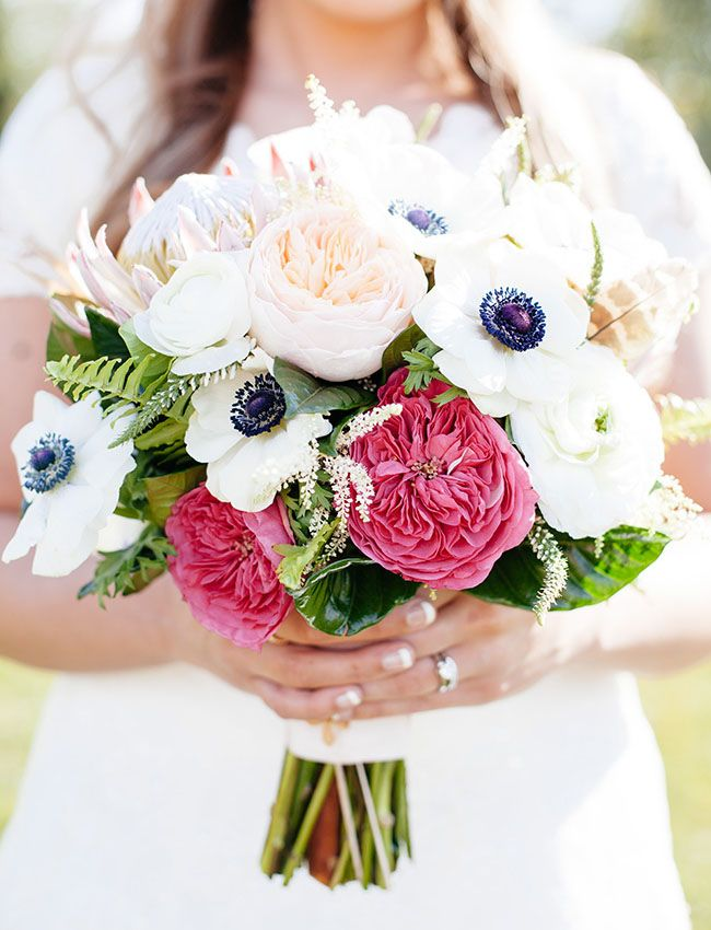 anemone and pink garden roses bouquet