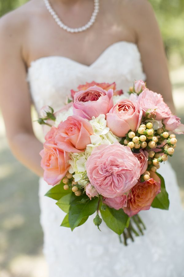 Pink garden roses wedding bouquet - Garden rose bouquet ...