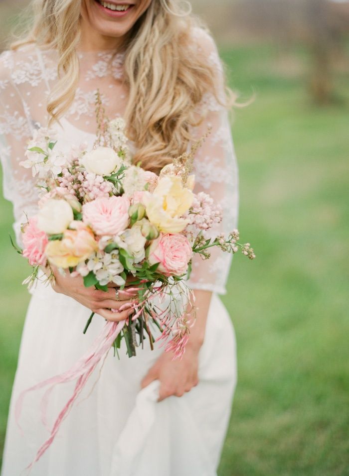 Blush peach and cream wedding bouquet - Garden rose bouquet ...