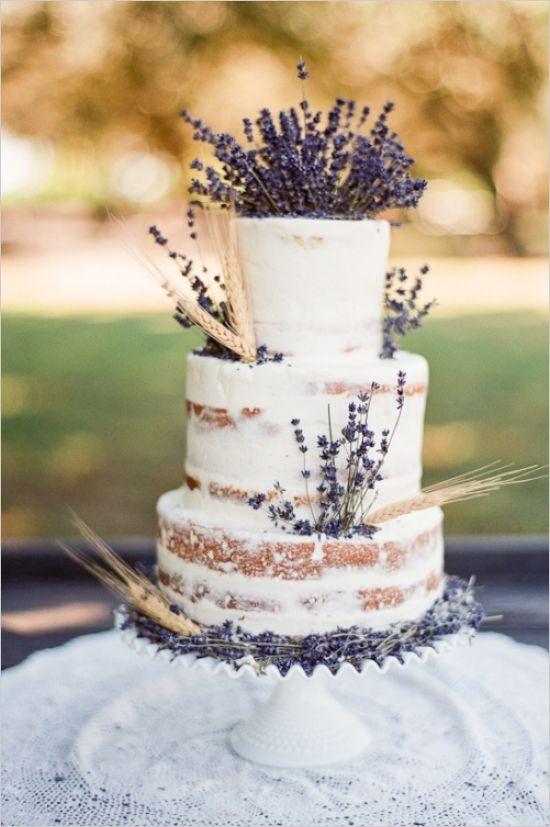 rustic lavender wedding cake