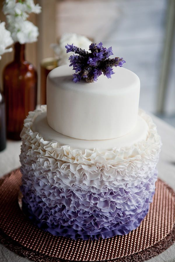 Lavender and white ombre wedding cake