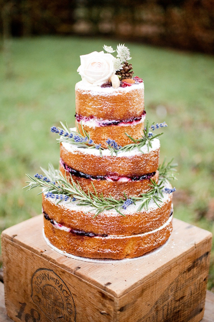 naked lavender wedding cake