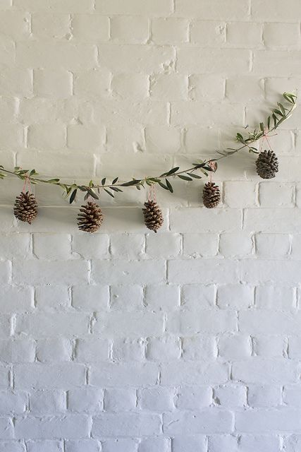 Olive branch pine cone garland