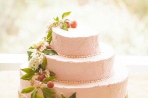 pink cream wedding cake