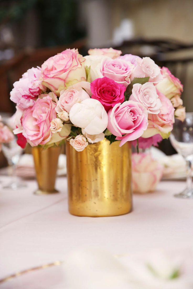 Pink And Gold Wedding Centerpieces