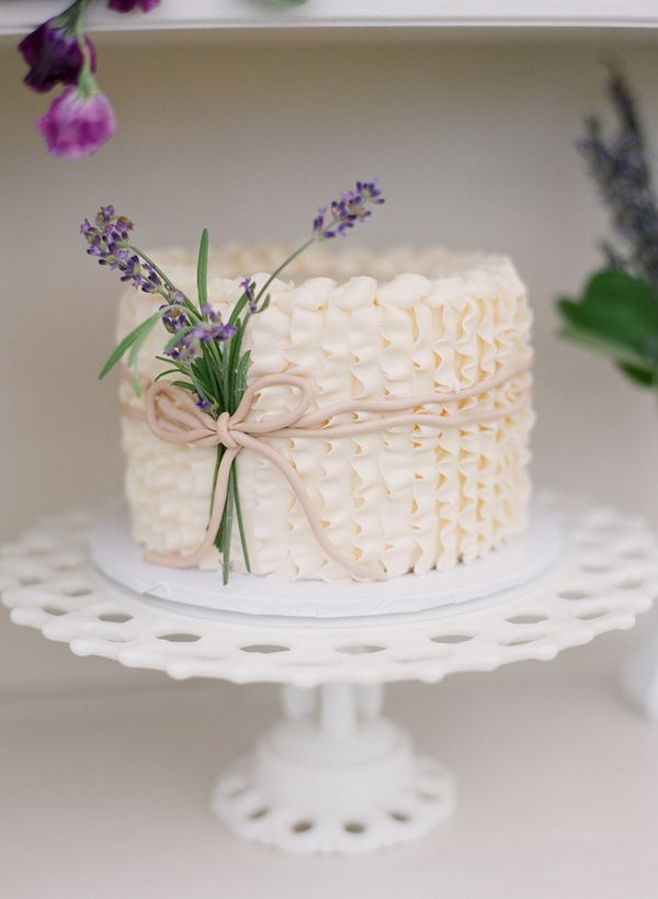 Ruffle Wedding Cake With Lavender