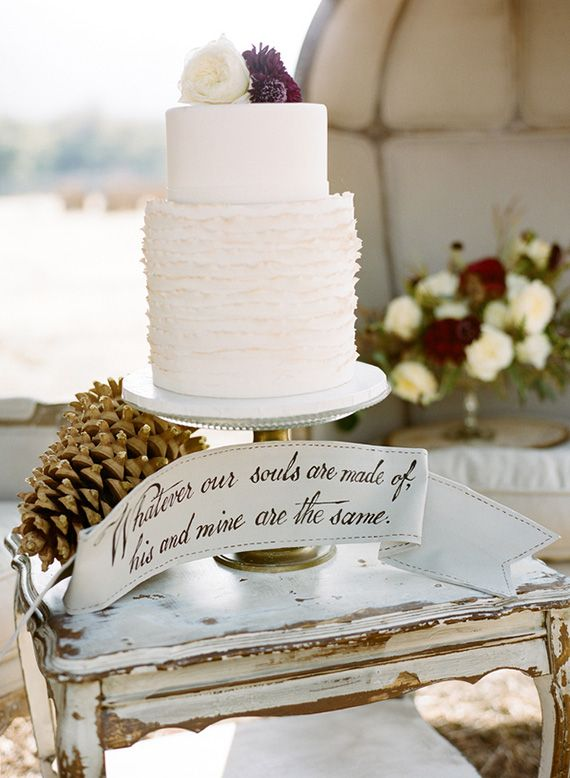 Rustic Winter wedding cake,white wedding cake
