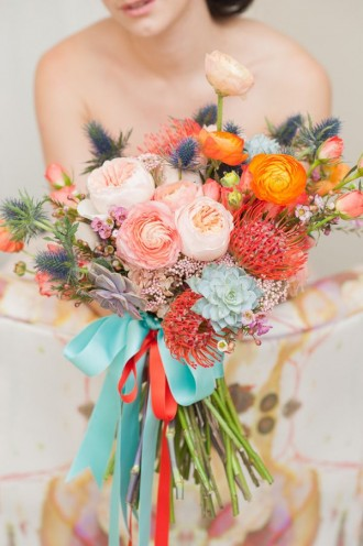 shades of peach wedding bouquet