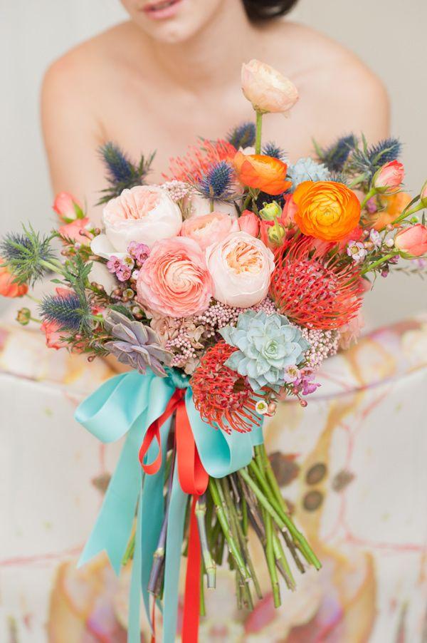 shades of peach wedding bouquet