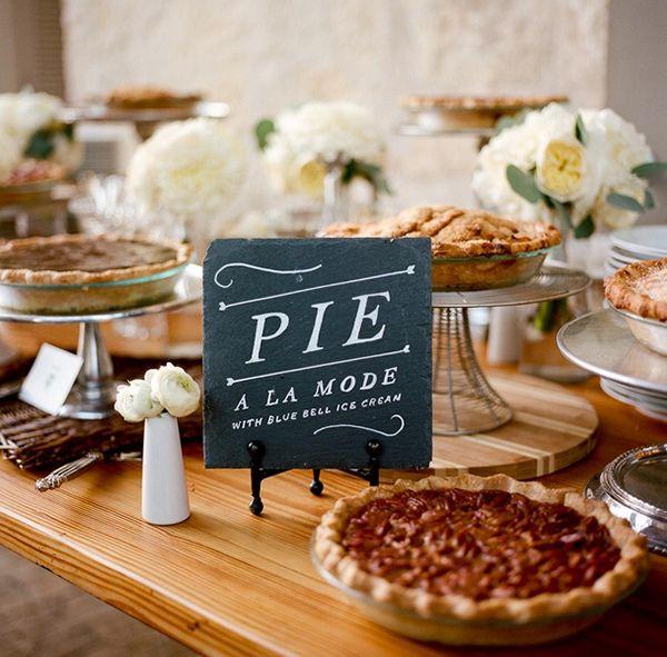wedding pie display,wedding pies,wedding pie bar