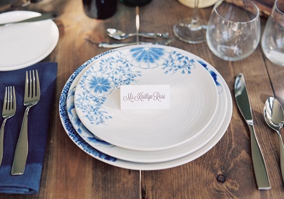 blue wedding place setting