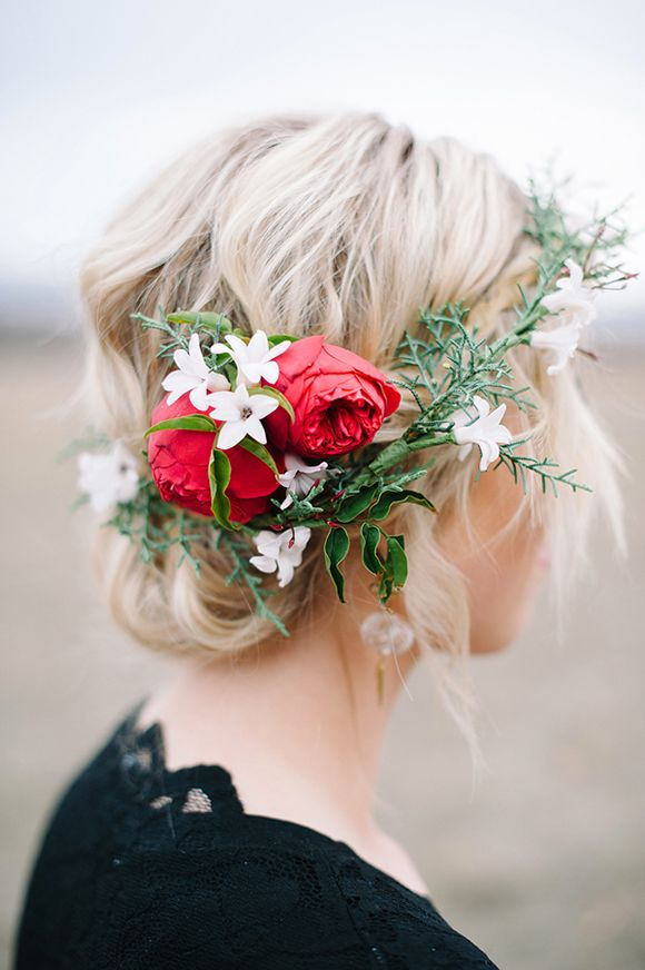 Loose Chignon Wedding Hairstyles With Flower Crown