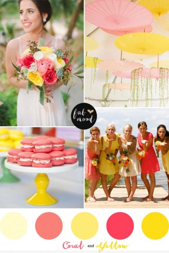 coral and yellow wedding colors,coral and yellow wedding inspirations