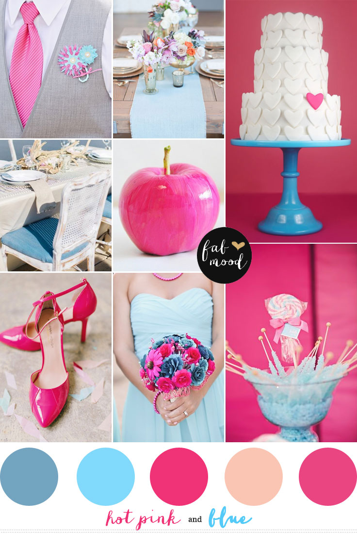 blue and hot pink wedding colors palette,hot pink and blue wedding inspirations