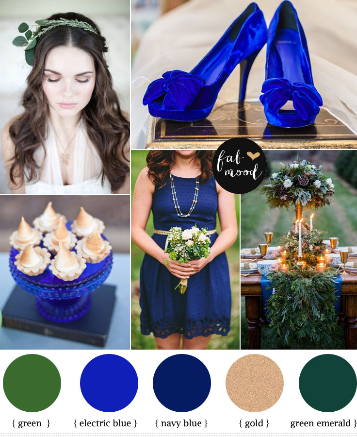 Electric Blue And Green Wedding Colors Palette