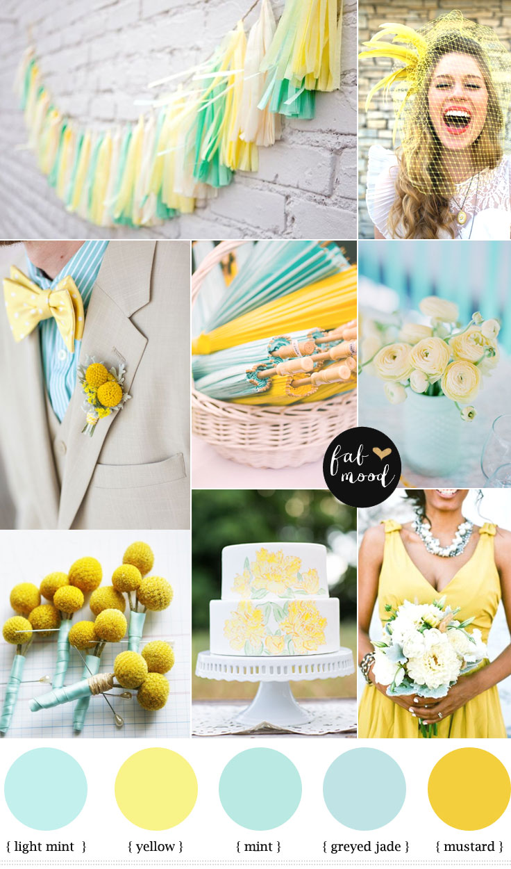 Mint And Yellow Weddingmint Color Schememint Wedding Colours
