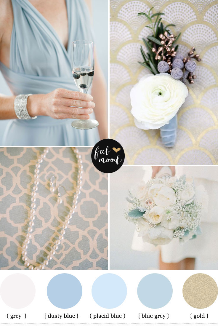 Dusty blue and gold wedding