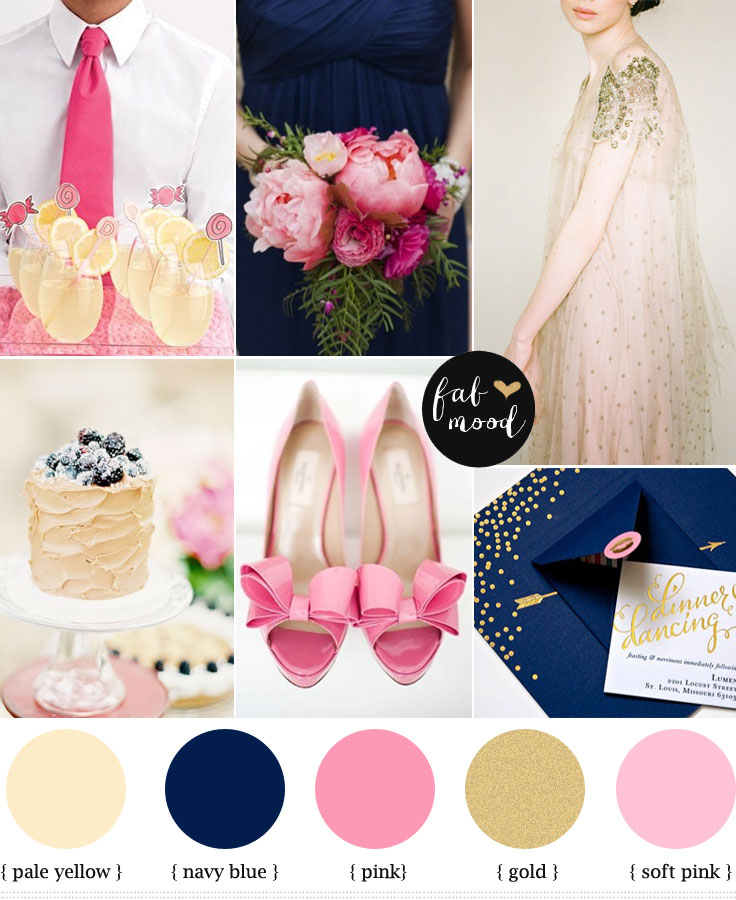 Navy Blue Pink And Gold Wedding Colours Palette
