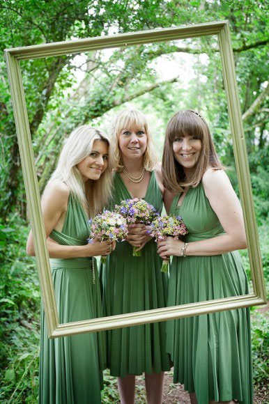 Green Bridesmaids And Lavender Bouquets Green Lavender