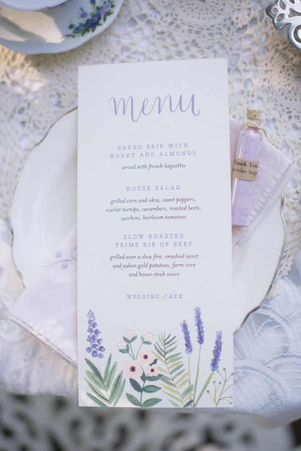 lavender wedding menu