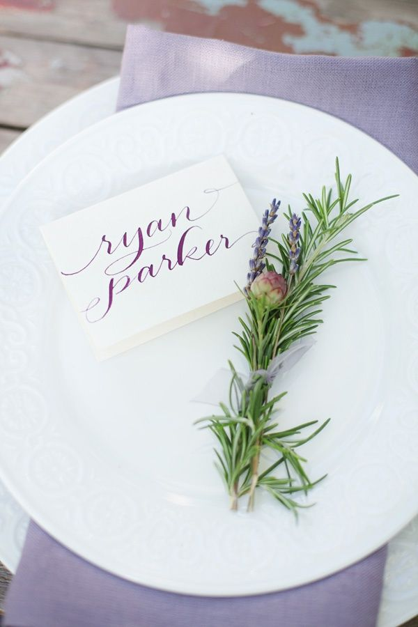 lavender wedding place setting