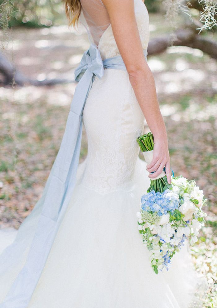 light blue sash for wedding dress