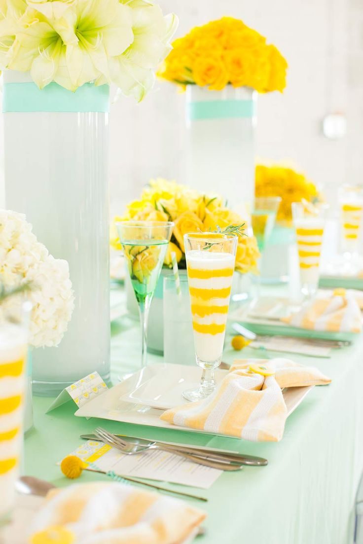 Mint And Yellow Wedding Color Palette,mint And Yellow Wedding Place Setting  ...