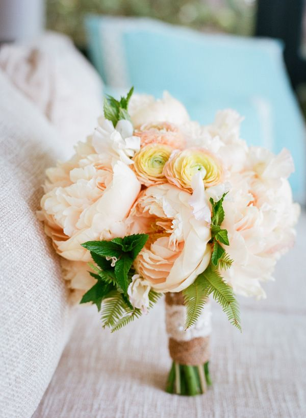 blush peony and ranunculus bouquet with sweet pea and fern by Ooh! Events