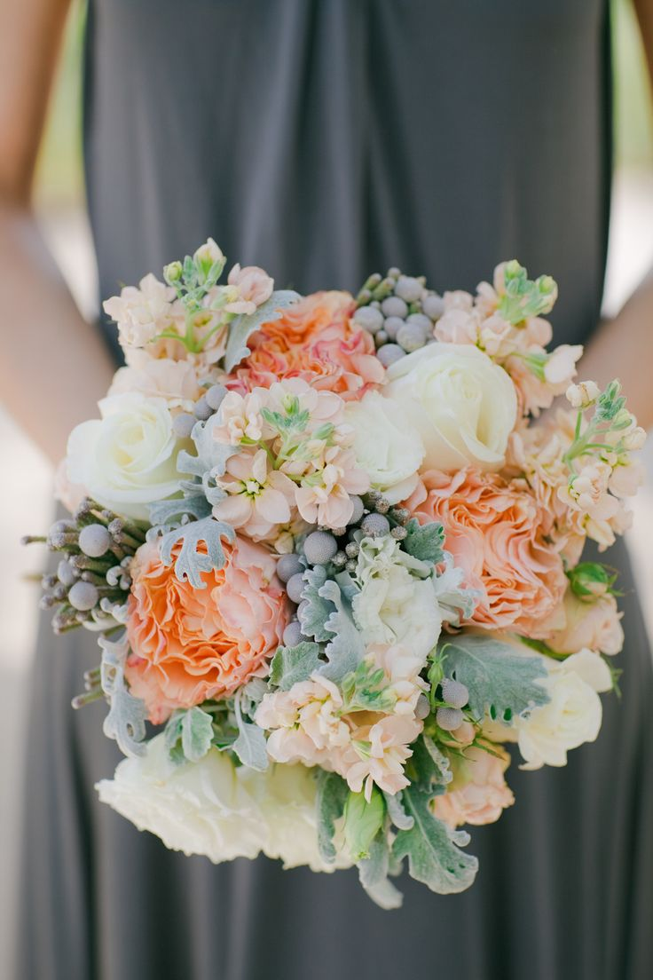 Peach Wedding Bouquet With Garden Roses Double Stocks And Silver