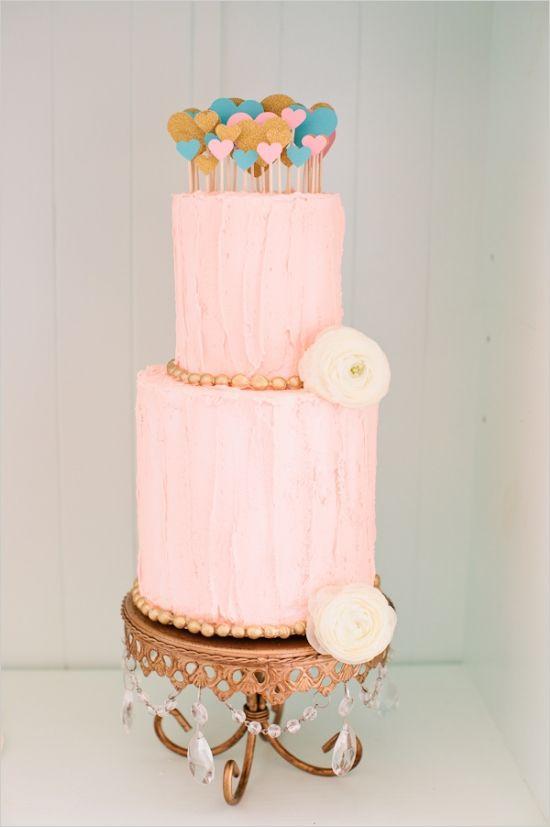 chic wedding cake,soft pink wedding cake,pink and gold wedding cake