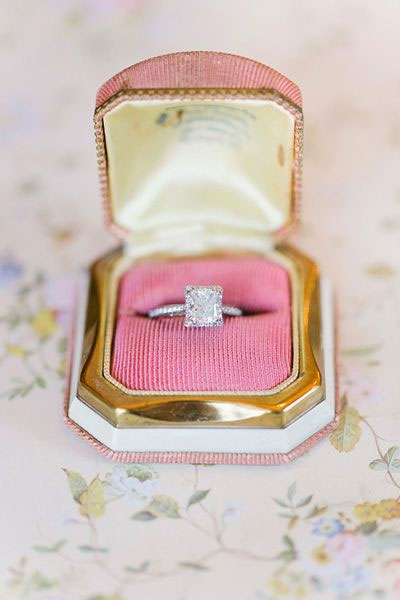 pink and gold wedding colors palette,engagement ring in pink and gold ring box
