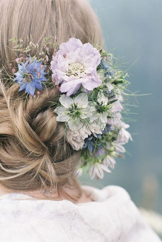 wedding updo hairstyles with blue flowers. Black Bedroom Furniture Sets. Home Design Ideas